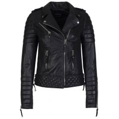 Biker Womens Quilted Leather Jacket Black front view