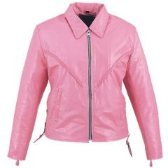Leather Braided Pink Ladies Jacket front view
