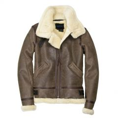 Hooded Fur Leather Bomber Jacket Womens front view