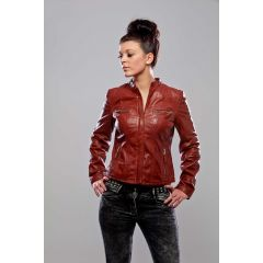 karma jacket leather women front view