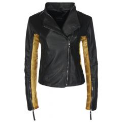 Ladies Sovereign Black & Gold Leather Jacket front view