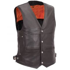 Leather Biker Vest with Deep Front Pockets front view